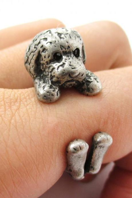 Realistic Toy Poodle Shaped Animal Wrap Ring in Silver | Size 4 to 8.5
