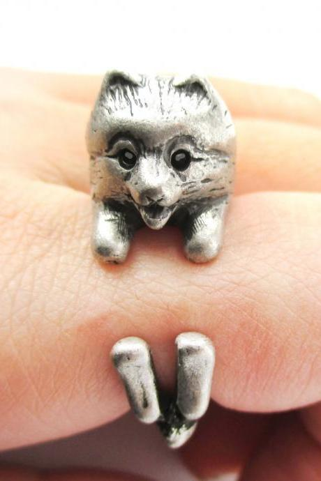 Realistic Pomeranian Shaped Animal Wrap Ring in Silver | Size 4 to 8.5