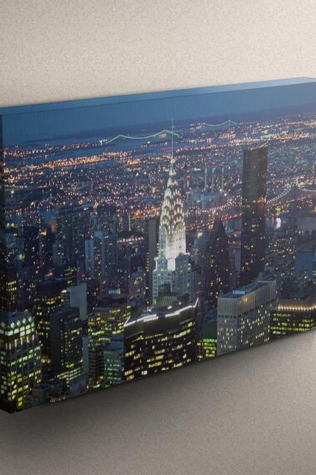 New York City at Night - Fine Art Photograph on Gallery Wrapped Canvas - 16x12' & more