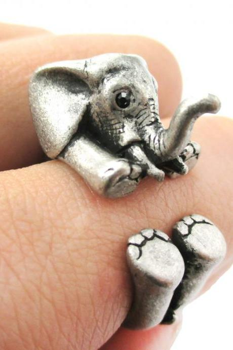 3D Baby Elephant Animal Wrap Around Ring in Silver | Size 5 to 8.5