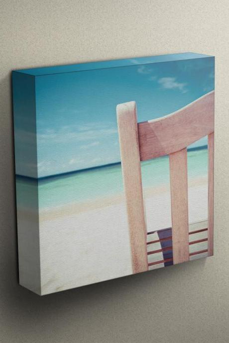 Beach Chair View - Fine Art Photograph on Gallery Wrapped Canvas - 16x12' & more