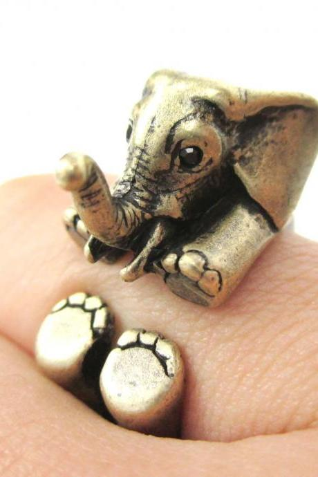 3D Baby Elephant Animal Wrap Around Ring in Bronze | Size 5 to 8.5