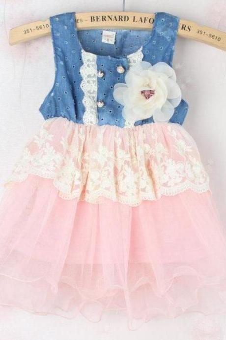 READY TO SHIP Pink Floral Denim 18 Months Tutu Dress Denim White Floral Pink Dress