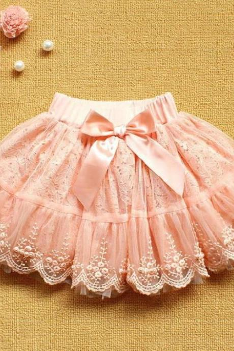 Pink Lace Skirt-Tutu Skirt for Girls-Baby tutu Skirt-Tutu Skirt-Party tutu Skirts with bow and Pearls