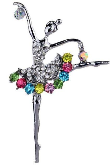 Dancing Ballet Girl Silver Brooch 2 Pieces of Brooch Silver Pins Wedding Brooch for Women Multicolor