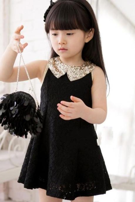 Free Shipping Black Dress for Little Girls with Golden Peter Pan Collar-Party Dress