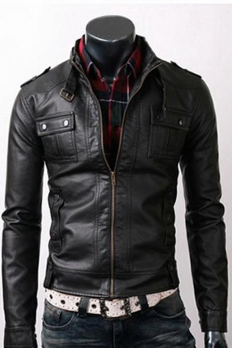 Men Black leather Jacket made with real Leather