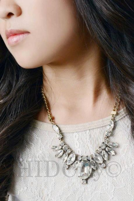 Crystal Teardrop Feather necklace Crew Statement Crystal , crystal Necklace, Statement Necklace.