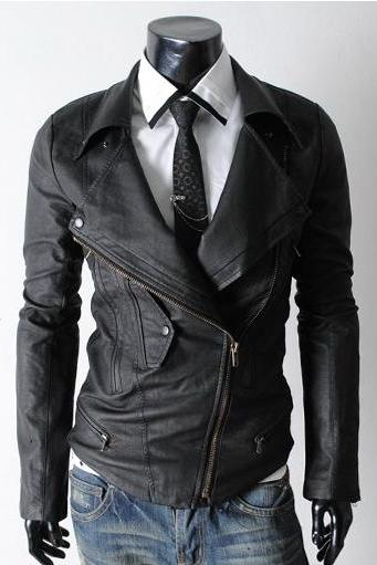 Men Classic Black Brando Stylish Leather Biker Motorcycle Jacket Made With Real Leather
