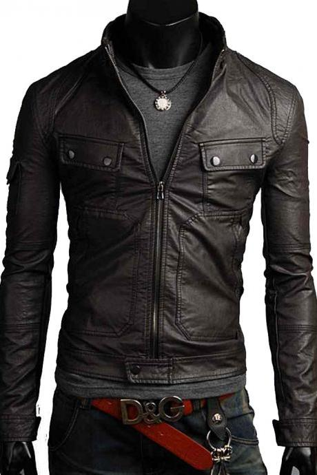 Men leather jacket, men leather jacket, men slim fit short jacket