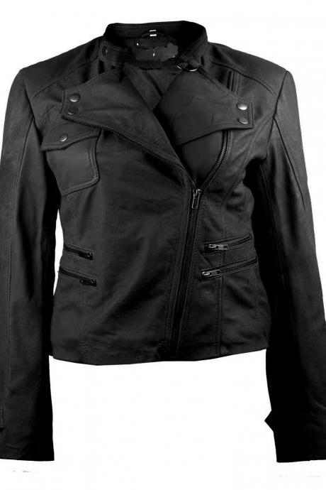 Moto Black Biker Womens Leather Jacket