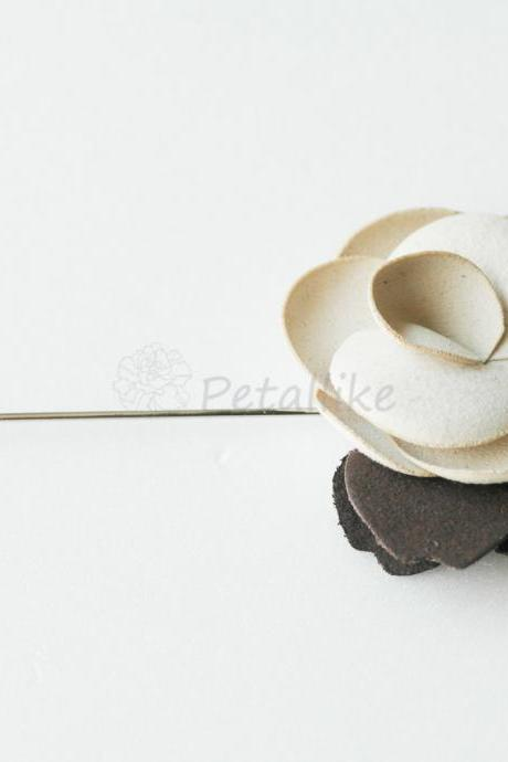 IVORY-Suede Blossom Men's Flower Boutonniere / Buttonhole For Wedding,Lapel Pin,Tie Pin