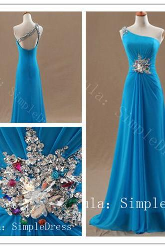 cheap hot sale A line sexy blue elegant prom dresses one shoulder backless long formal evening dress/ party dress/ women dress custom