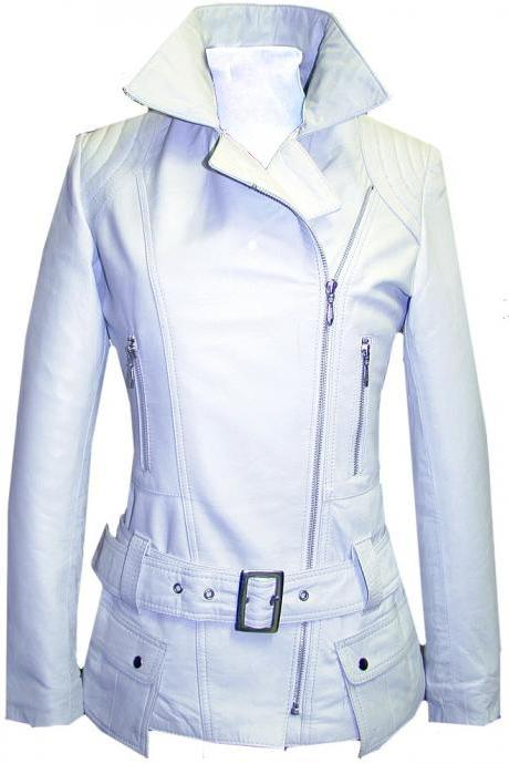 WOMEN'S BELTED WHITE BIKER LEATHER JACKET