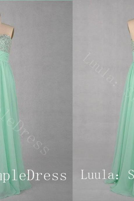 Hot sale cheap plus size modest Prom Dresses bead sweeheart lace up floor length chiffon Evening Part dress prom dress women dress