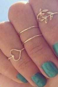 4 pcs knuckle rings Heart shaped ring diamond leaves ring finger ring