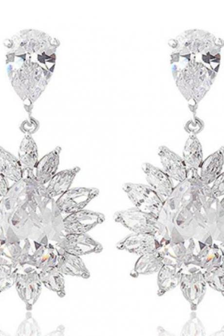 Ice Flower Crystal Earrings with Cubic Zirconia Wedding Drop Earring