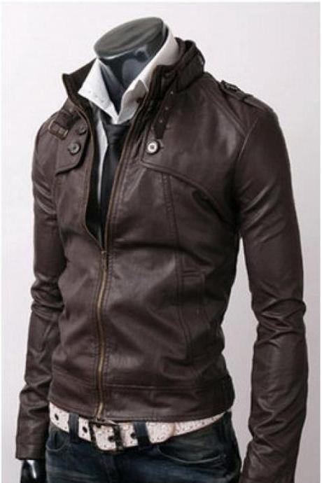 MEN STYLISH SLIM BROWN LEATHER JACKET