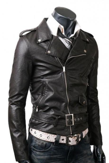 MEN BELTED RIDER BLACK LEATHER JACKET