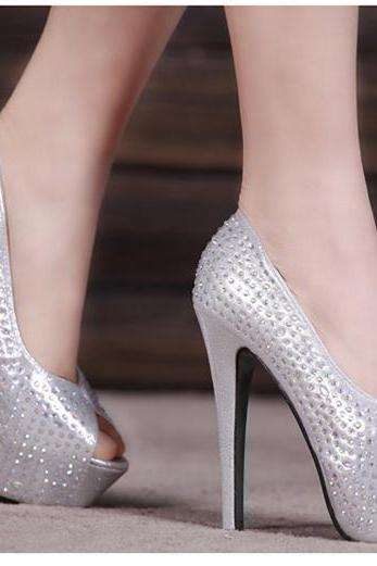 Crystal Studded Bridal Wedding Shoes Peep Toe Stiletto Dress Shoes Size 34 to 39