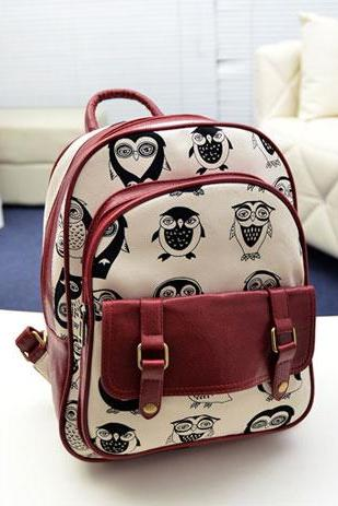 European Style Cute Leisure Owl Print Backpack