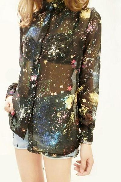 Galaxy Print Sheer Chiffon Blouse Shirt Top women female ladies 2014