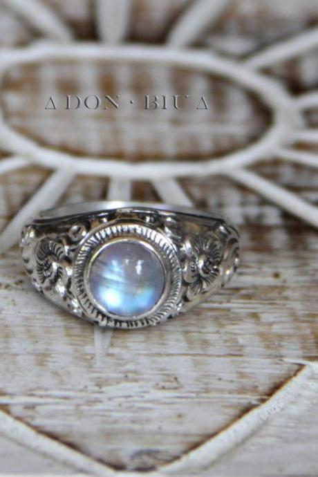 Moonstone Ring, Sterling Silver Moonstone Gemstone, Carved Ring, Gemstone Carved Ring, Bohemian Ring, Womens Silver Rings, Personalized Ring
