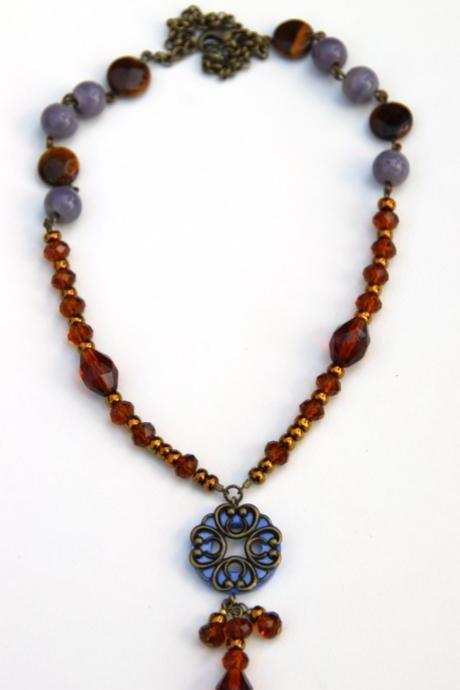 Brown and Purple Shell, Ceramic and Glass necklace