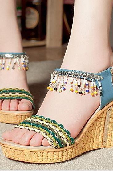 Fashion handmade beaded high-heeled shoes SS05121SH