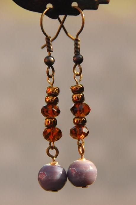 Brown and Purple Ceramic Earrings by Kashmira Patel