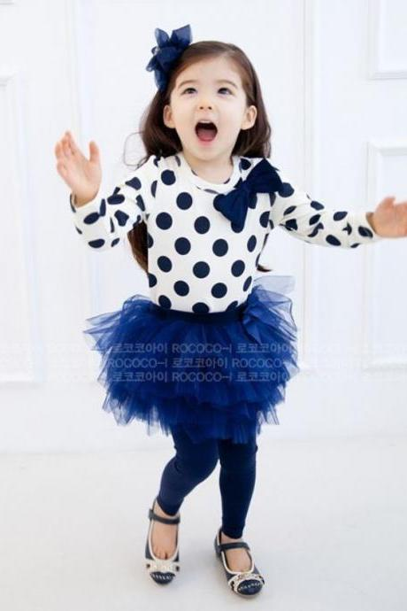Polka Dots Navy Blue Clothing Set for Toddler Girls with Tutu Skirted Leggings