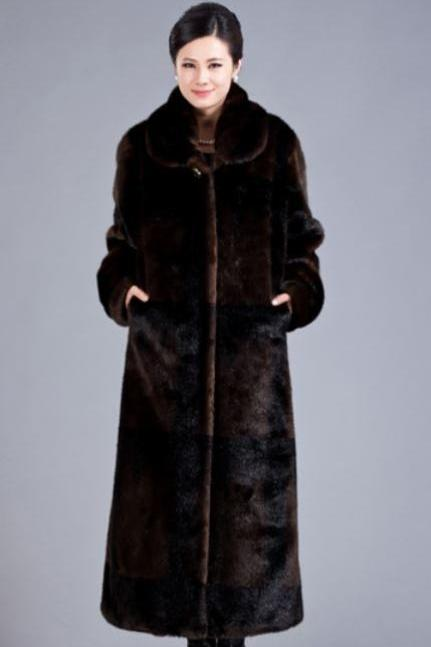 Brown Overcoat Ultra Long Overcoats for Women Mink Fur Trench Coats