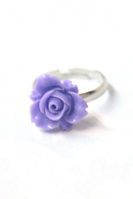 Purple flower ring adjustable