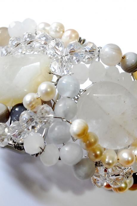 Beaded cuff bracelet made with Quartz, Botswana agate, fresh water pearls and crystals