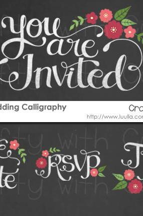 Chalkboard Wedding Invitation Calligraphy