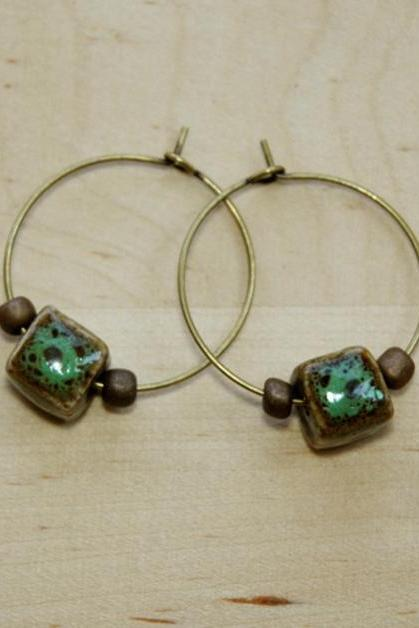 Turquoise Cube Ceramic Bronze Beads Hoop Earrings