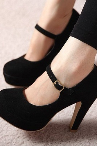 Black Mary Jane High Heels