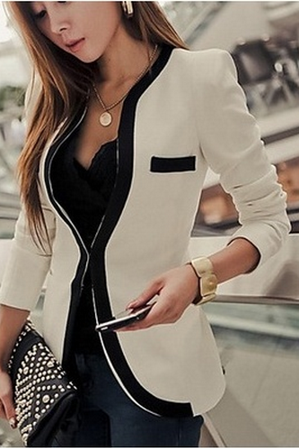Black White Colors Fashion New Slim Ladies Womens Suit Coat Blazer Jacket Button