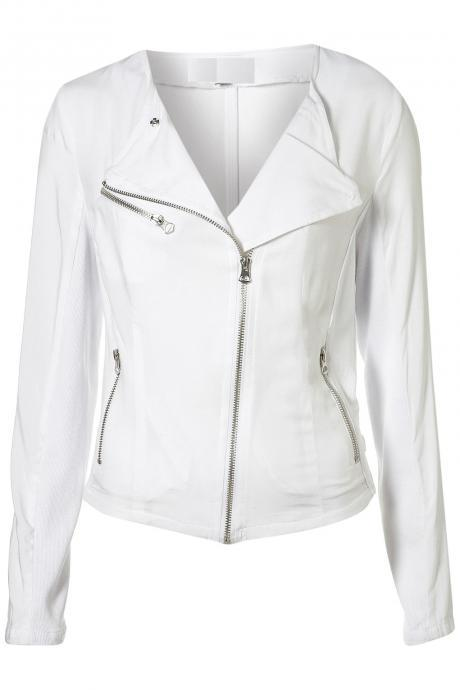Women white round neck leather jacket