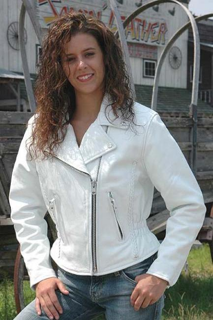 White Leather Jacket - Road Angel Motorcycle Jacket
