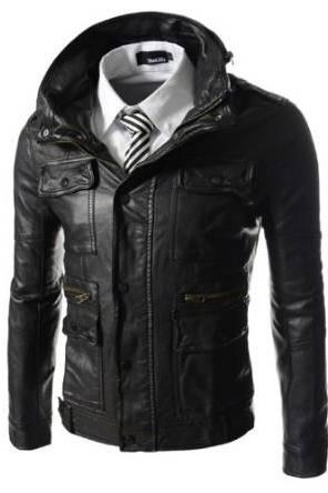 Men stand collar leather jacket with six front pockets