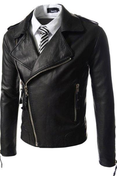 Men Biker leather jacket, real leather jacket