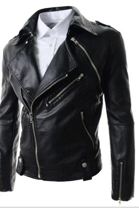 Men Biker leather jacket, real leather jacket for men