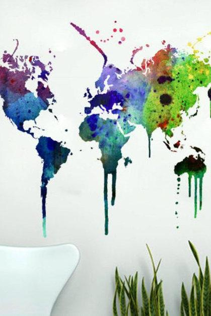 World Map Watercolor Decal Sticker Home Design for Housewares