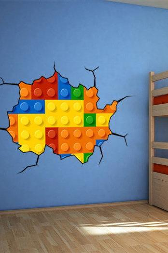Lego Effect Style Brick Wall Decal Vinyl for Housewares Handmade and Designed Not Associated with Lego Brand