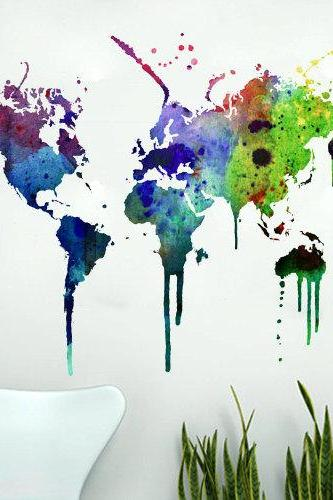 World Map Watercolor Decal for Housewares
