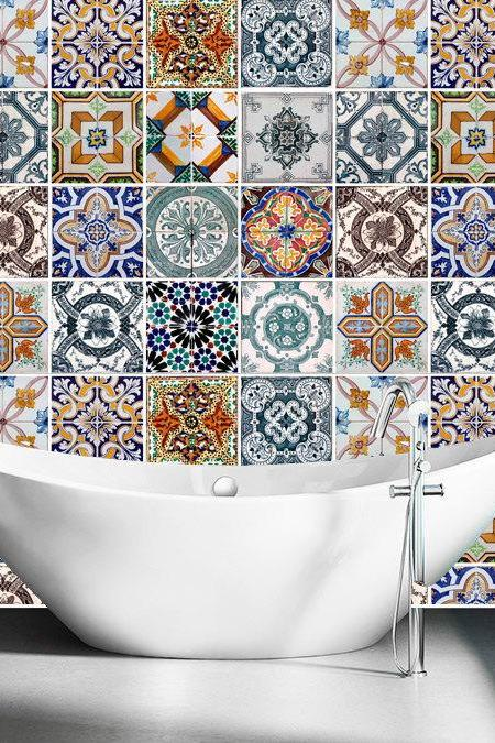 Tile Decals Stickers for Ceramic Kitchen Tiles and Bathroom Tile Stickers - Portuguese Azulejos (Pack with 48)
