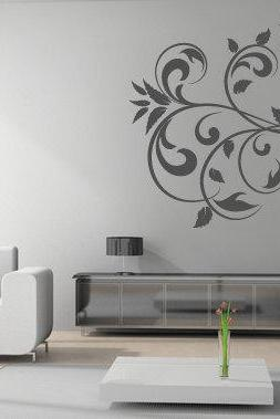 Curly Floral Vinyl decal for housewares
