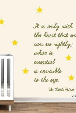 Little Prince Nursery Wall Sticker Decor Saint Exupery Famous Quote Decal for Kids Bedroom