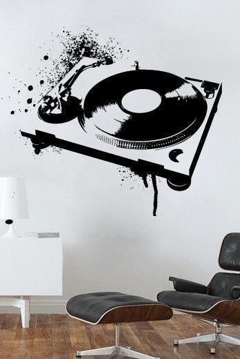 Dj Mixer Spray Painted Effect Vinyl Sticker